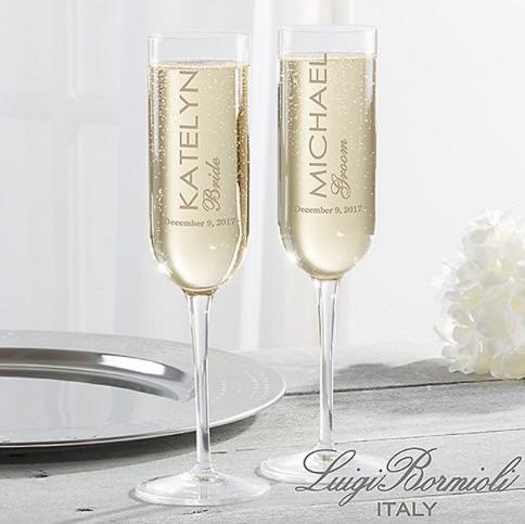 Luigi Bormioli Personalized Modern Champagne Flutes, Set of 2 bridal shower gift ideas