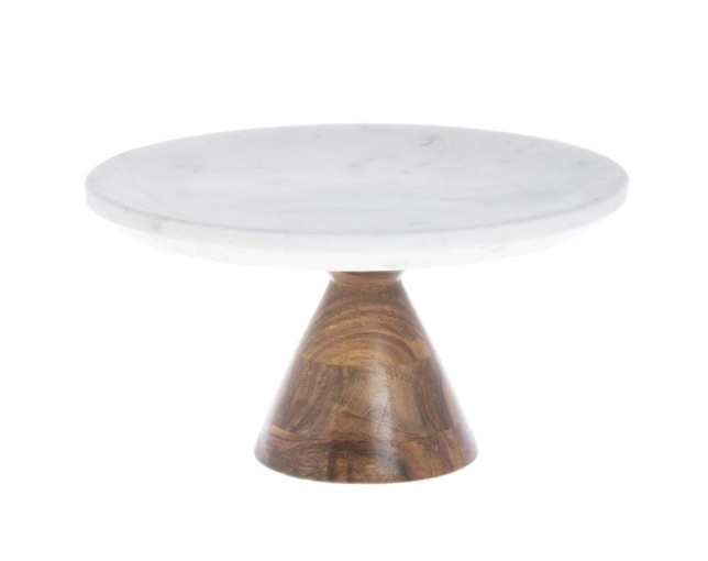 White Marble with Wood Pedestal Cake Stand bridal shower gift ideas