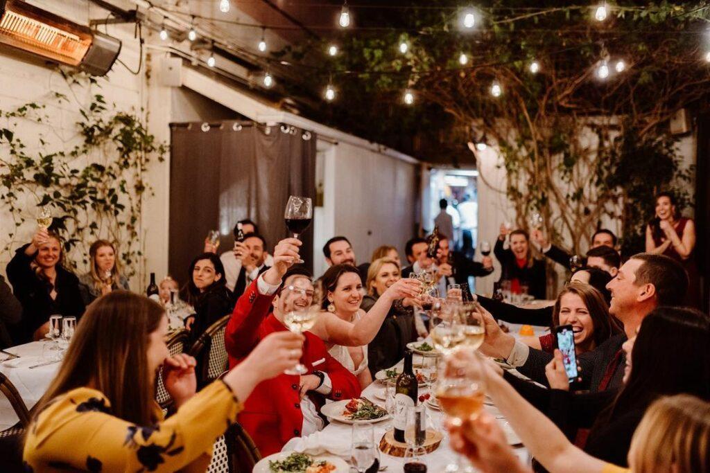 toast at a wedding reception