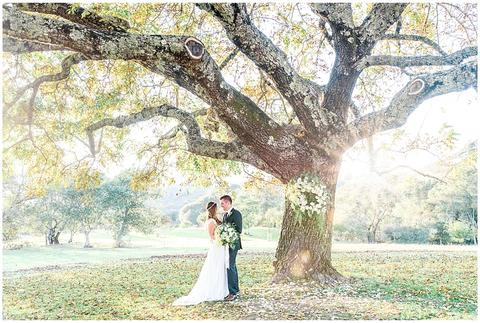 a man and woman standing under a tree with a large tree in the background